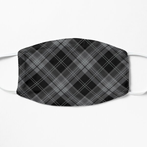 Gray Black Plaid Check Tartan Pattern Mask