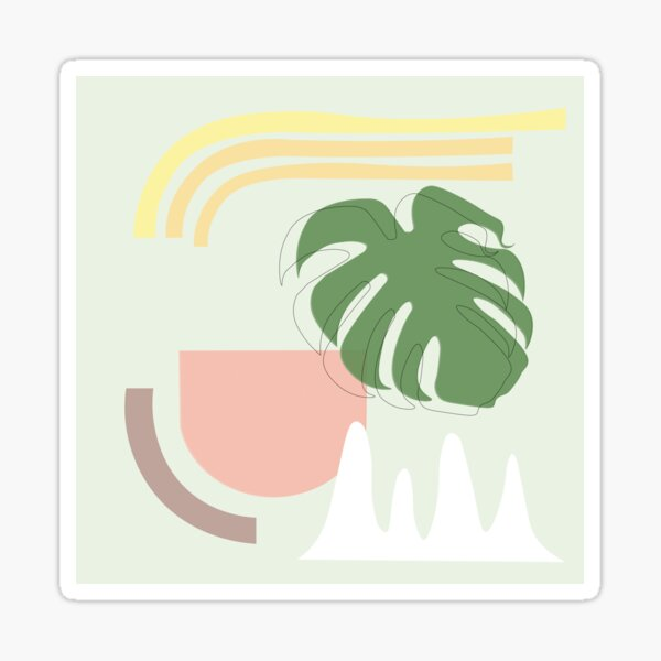 Monstera Deliciosa Abstract Art For Plant Lovers Sticker