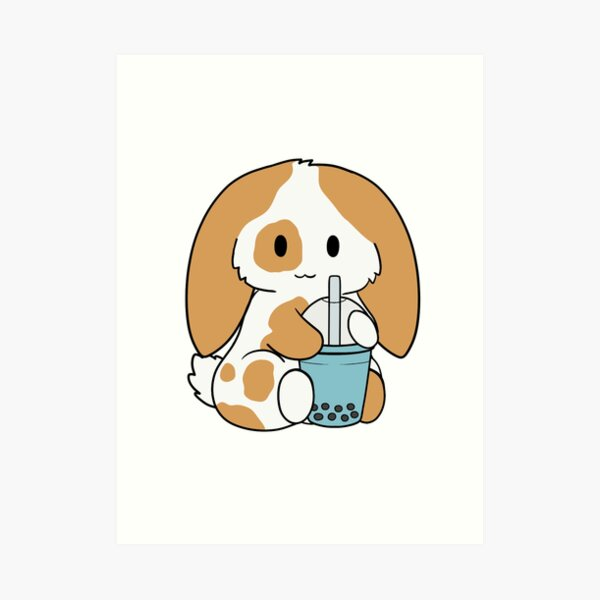 Spotted Brown Bunny Blue Bubble Tea Art Print