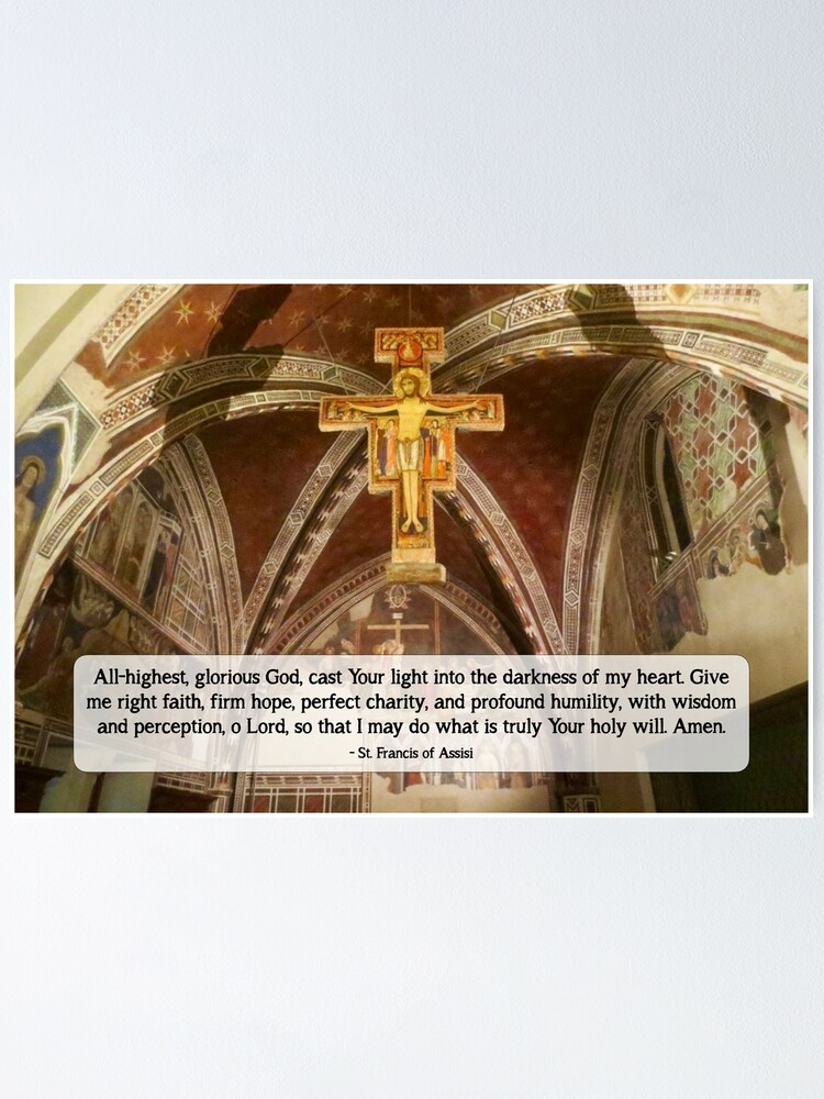 Alternate view of San Damiano Cross with St. Francis Prayer - 1 Poster