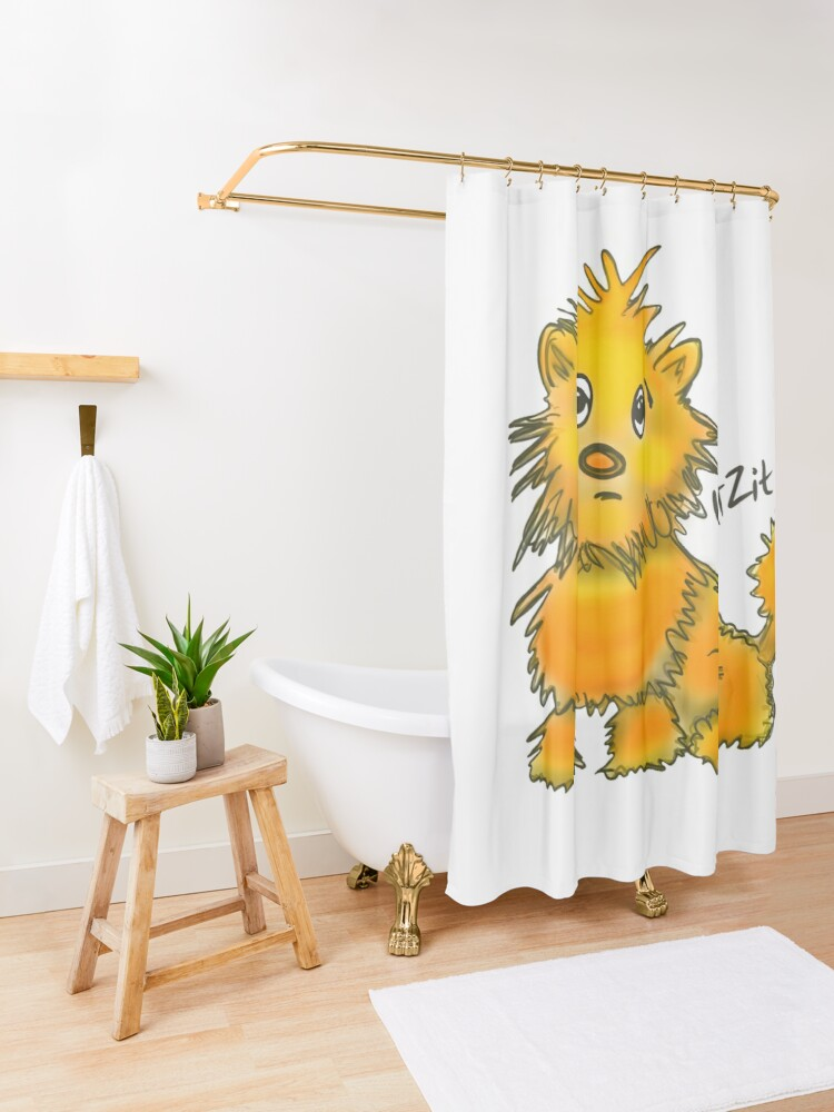 Alternate view of WatZit Enchanted Mythical Creature Yellow Shower Curtain