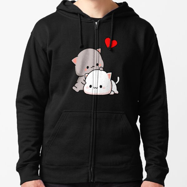Peach Cat and Goma Love Never Fails Zipped Hoodie