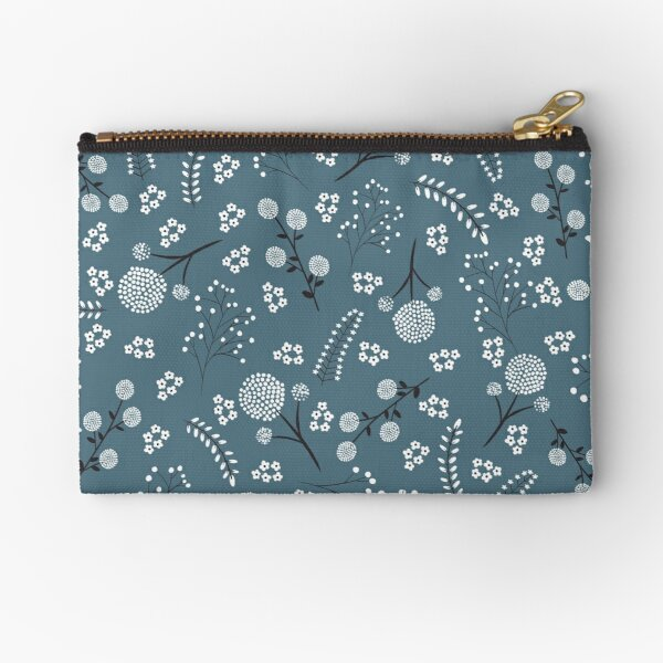 Floral Dots in Teal Zipper Pouch