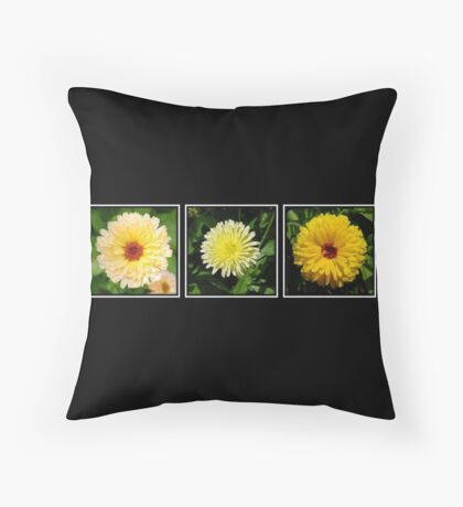 Yellow Marigold Triptych Throw Pillow