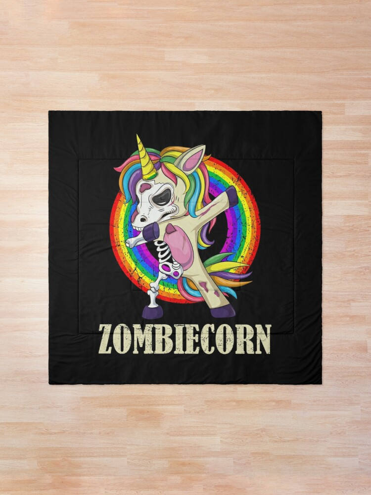 Alternate view of Zombiecorn Halloween Dabbing Unicorn Skeleton Halloween Gift Comforter
