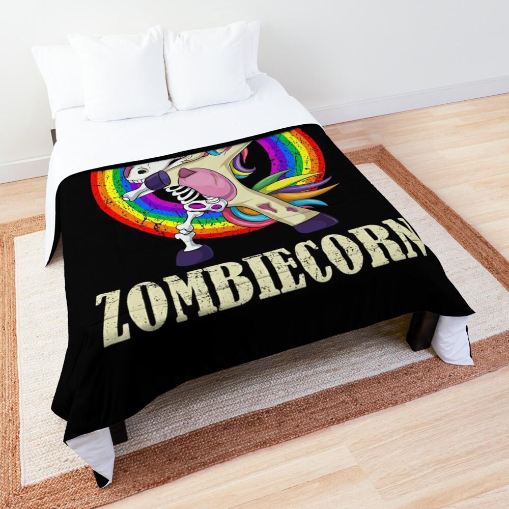Zombiecorn Halloween Dabbing Unicorn Skeleton Halloween Gift Comforter