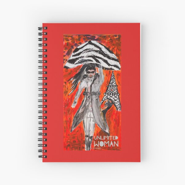Unlimited Woman in Knee High Boots and Ponytail  Spiral Notebook