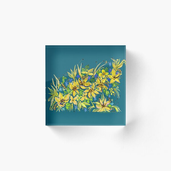 Hawaii Sings Yellow with Flowers Acrylic Block