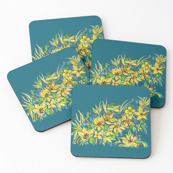 Hawaii Sings Yellow with Flowers Coasters (Set of 4)