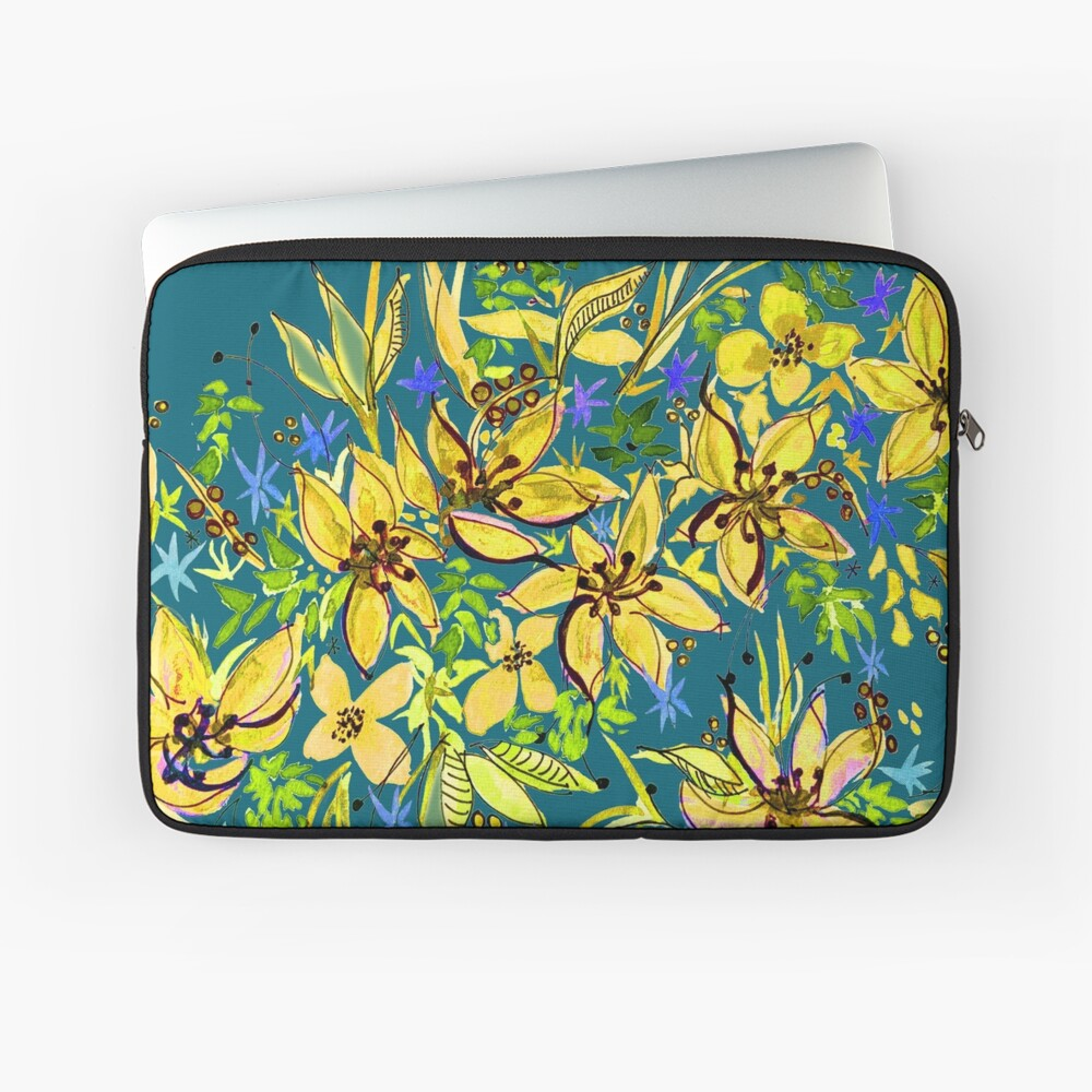 Hawaii Sings Yellow with Flowers Laptop Sleeve