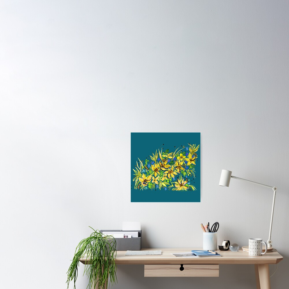 Hawaii Sings Yellow with Flowers Poster