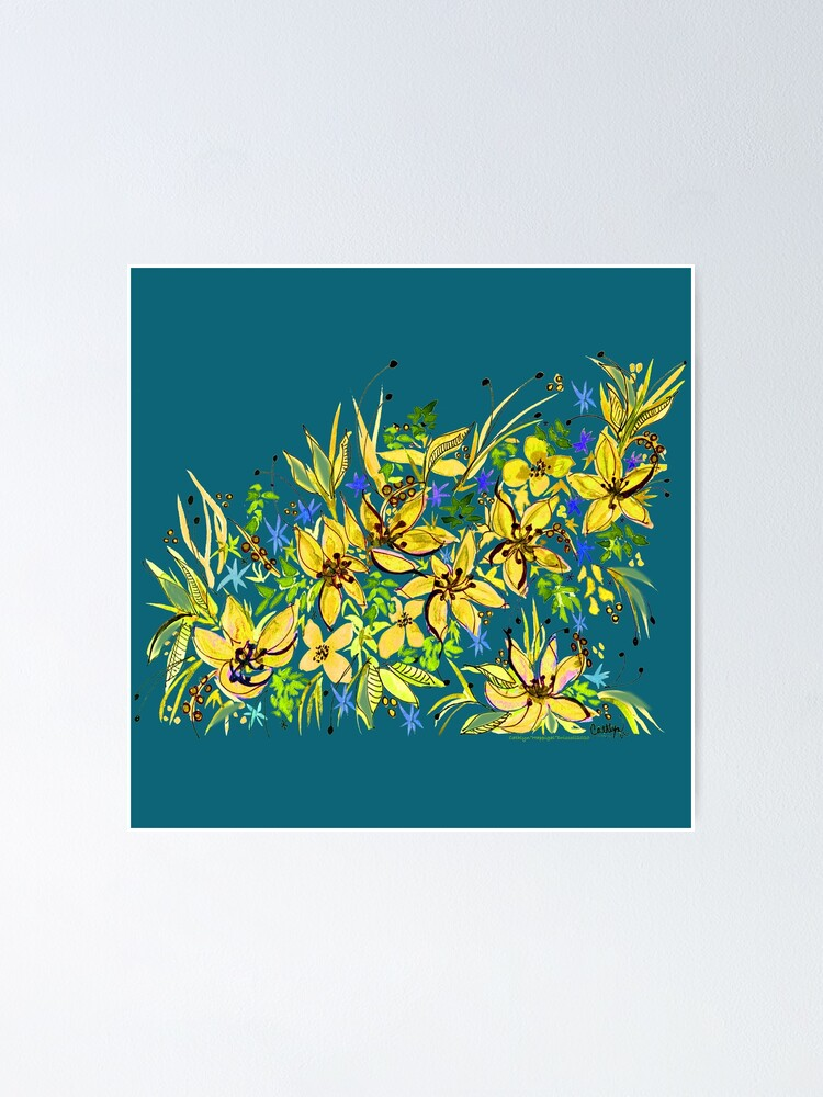Alternate view of Hawaii Sings Yellow with Flowers Poster