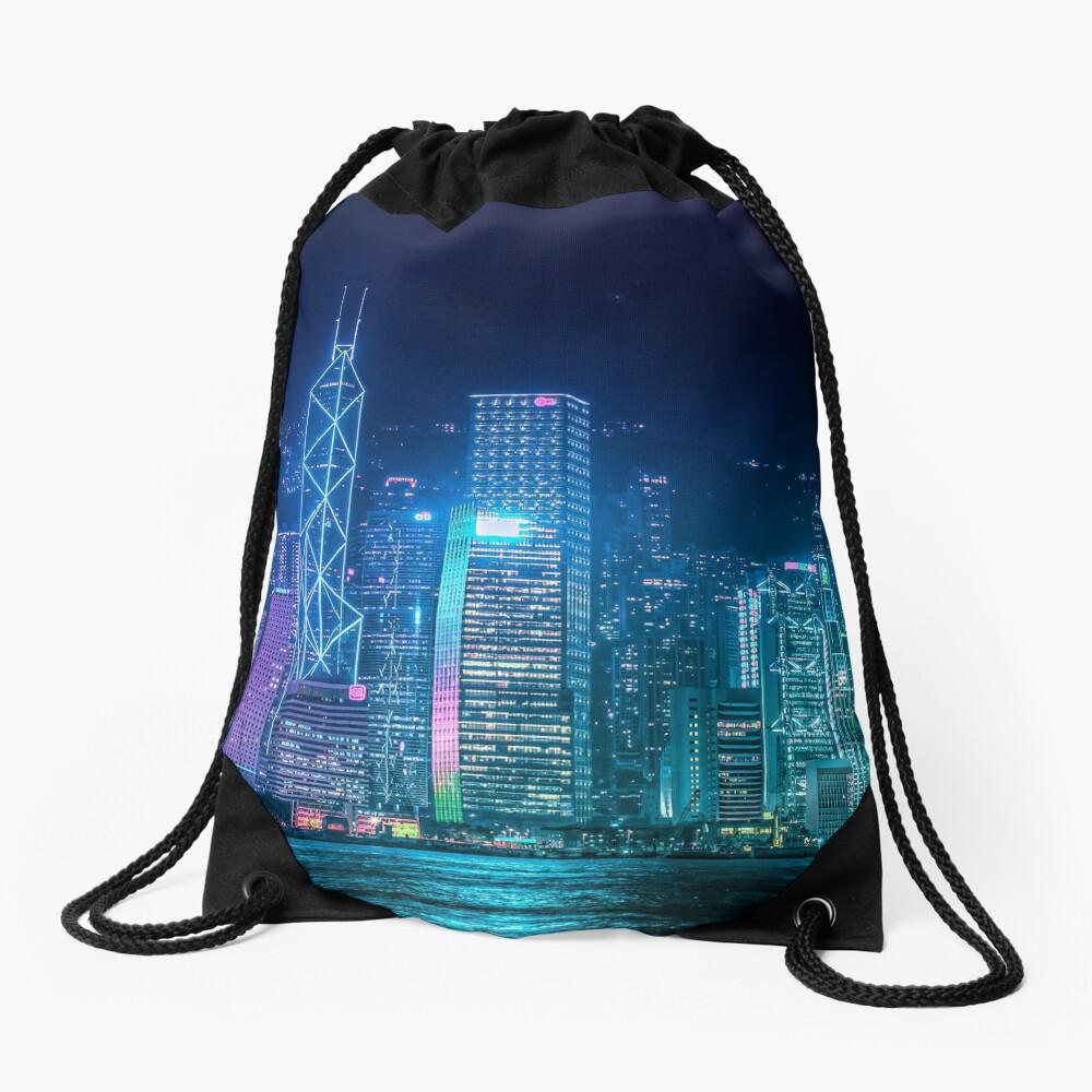 Hong Kong Cityscape Drawstring Bag