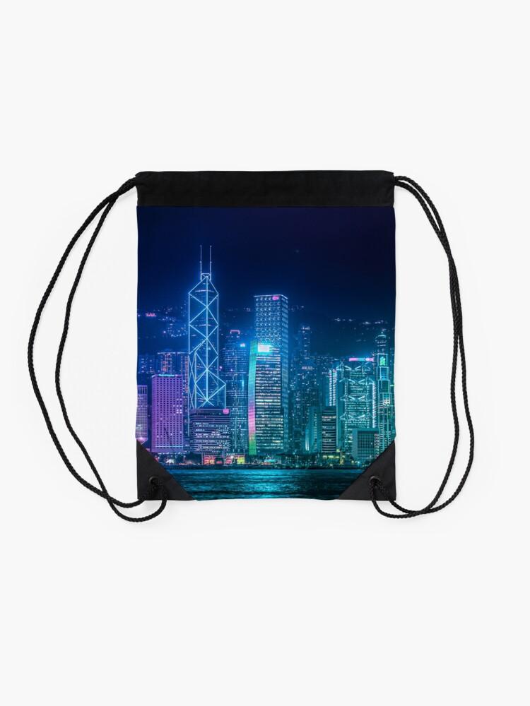 Alternate view of Hong Kong Cityscape Drawstring Bag