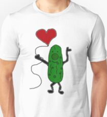Cool Funny Pickle is holding Red Heart Balloon Unisex T-Shirt