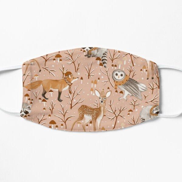 Winter woodland - pink Flat Mask