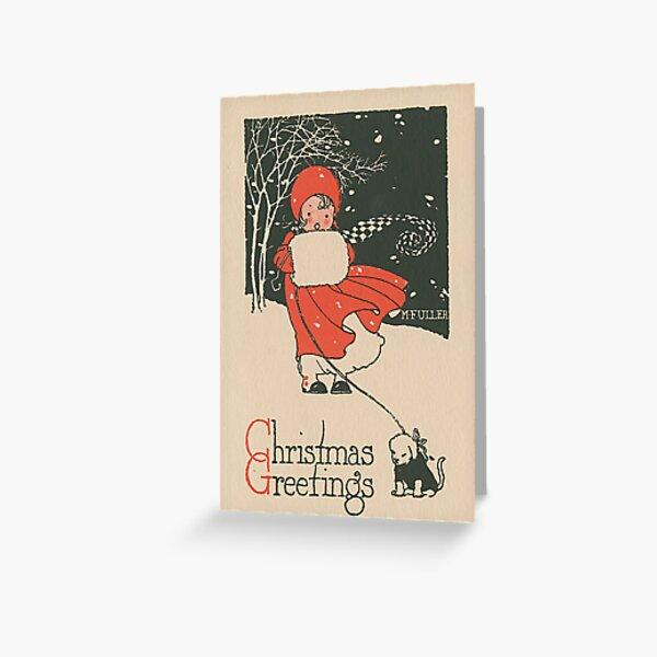 """""""Christmas Greetings"""" Vintage Christmas Card Greeting Card"""