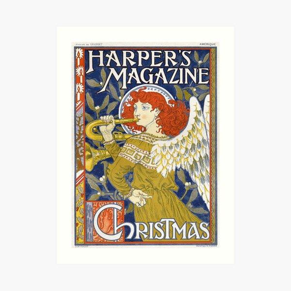 Vintage Harper's Magazine Christmas Magazine Cover Art Print