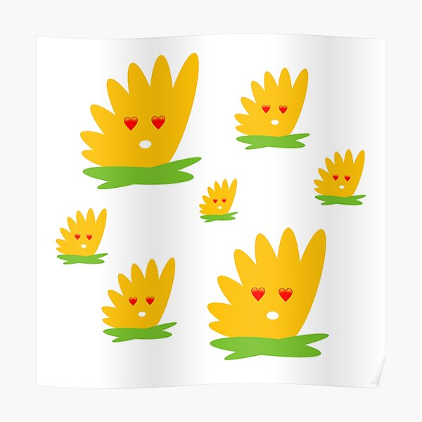 Yellow Art Flower Stickers Poster