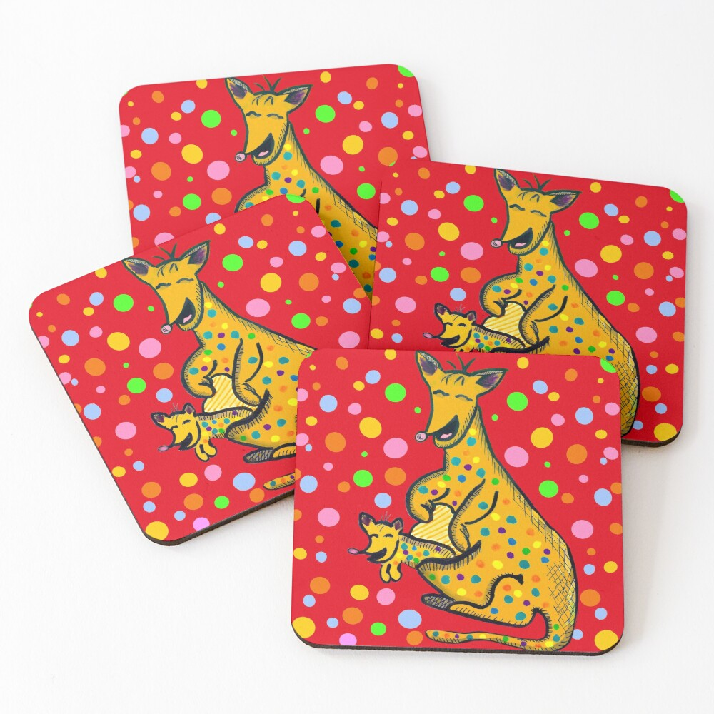 Kangaroo with Baby Laughing Yellow Coasters (Set of 4)