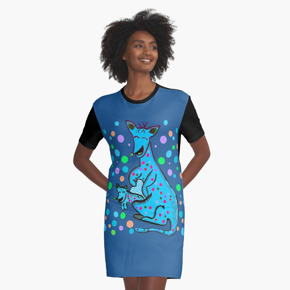 Kangaroo with Baby Laughing Aqua Graphic T-Shirt Dress