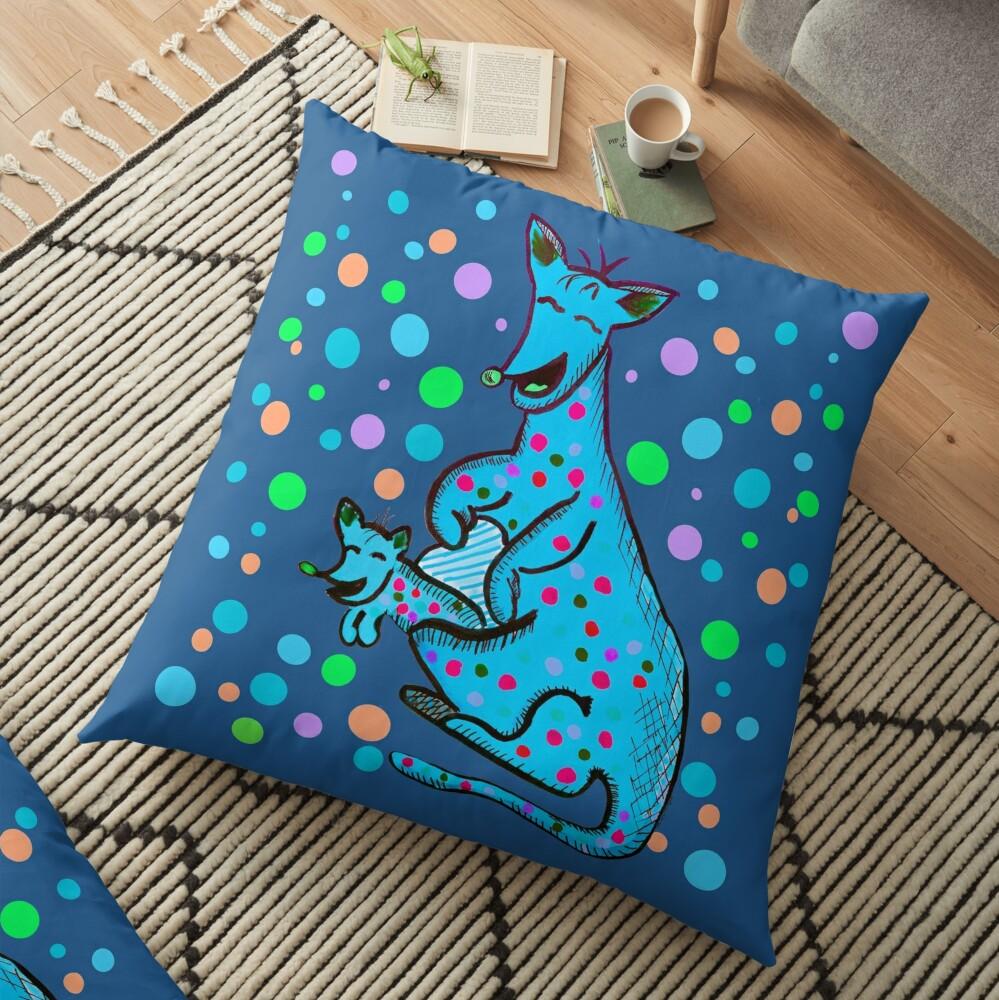 Kangaroo with Baby Laughing Aqua Floor Pillow