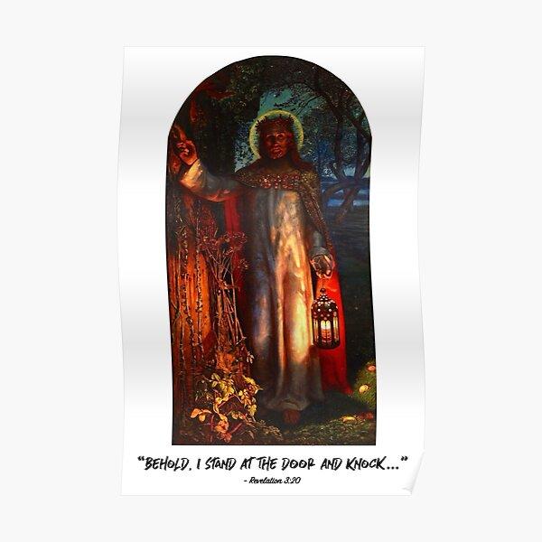 Revelation 3.20 - The Light of the World (white background) Poster