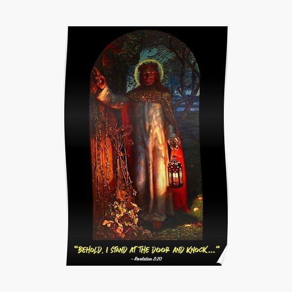 Revelation 3.20 - The Light of the World (black background) Poster