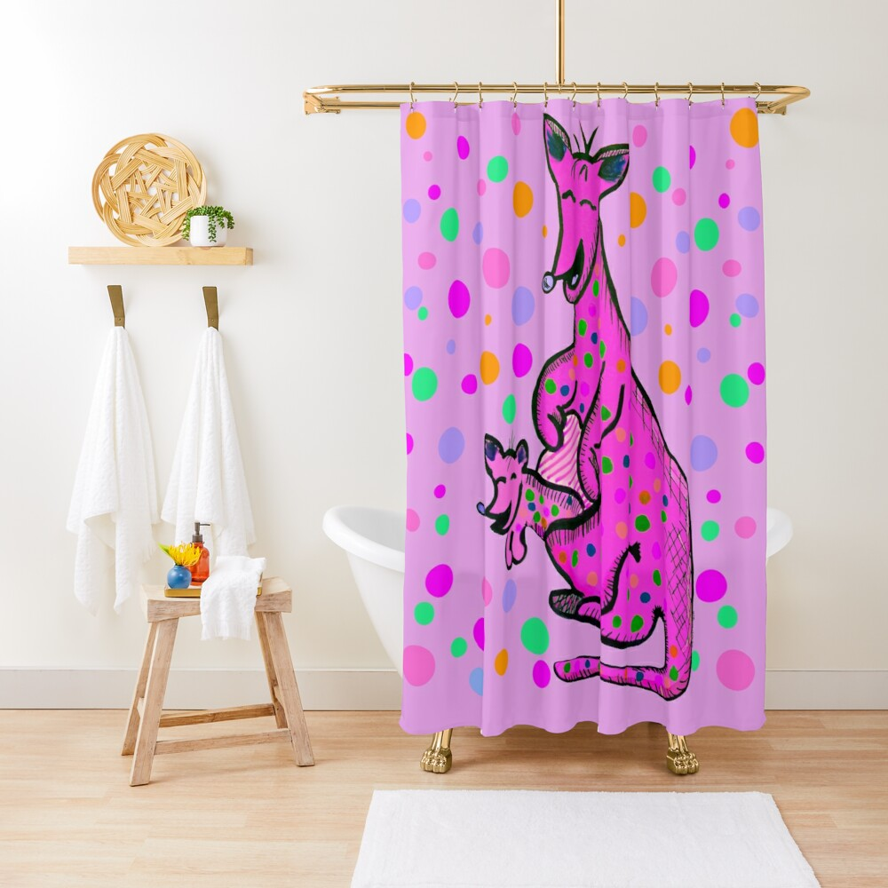 Kangaroo with Baby Laughing Pink Shower Curtain