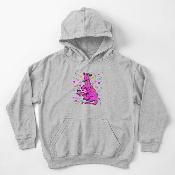 Kangaroo with Baby Laughing Pink Kids Pullover Hoodie