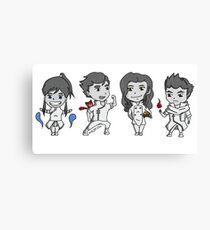 Team Avatar Korra Chibi Canvas Print