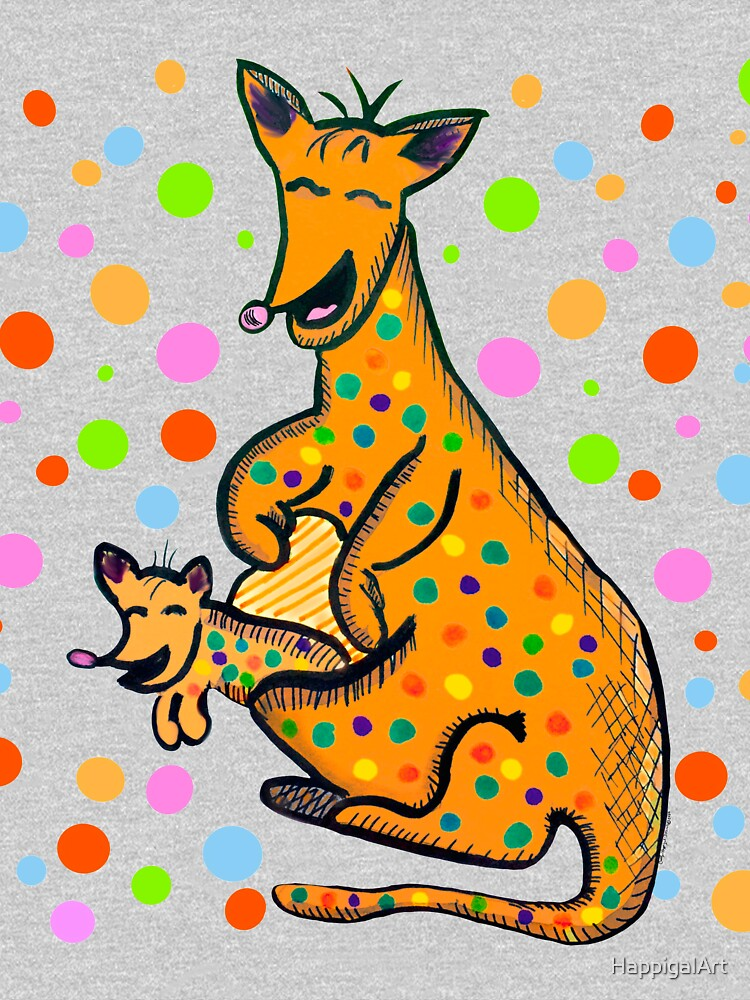 Kangaroo with Baby Laughing Orange by HappigalArt