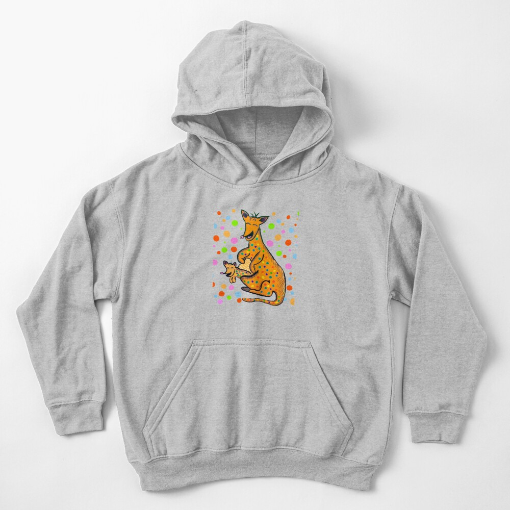 Kangaroo with Baby Laughing Orange Kids Pullover Hoodie