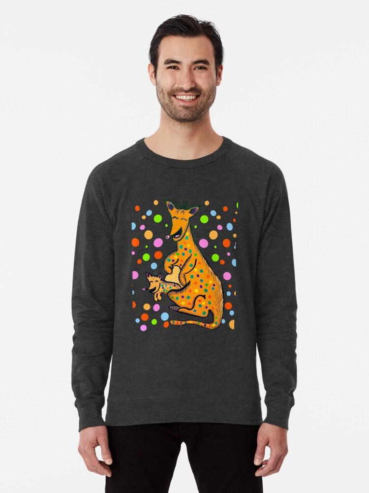 Alternate view of Kangaroo with Baby Laughing Orange Lightweight Sweatshirt