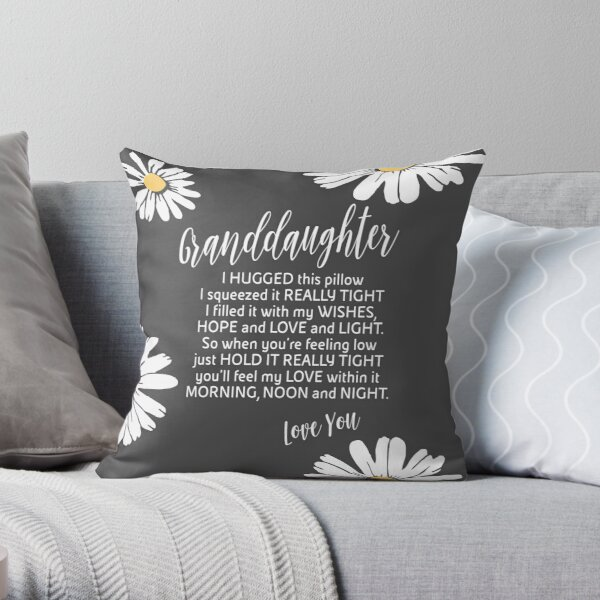 Granddaughter - Grey Granddaughter Pillow - Grey and white Granddaughter Throw Pillow