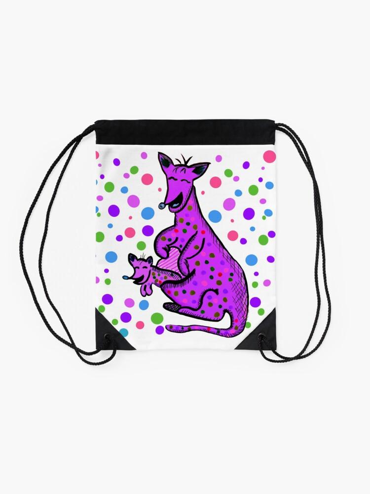 Alternate view of Kangaroo with Baby Laughing Purple Drawstring Bag