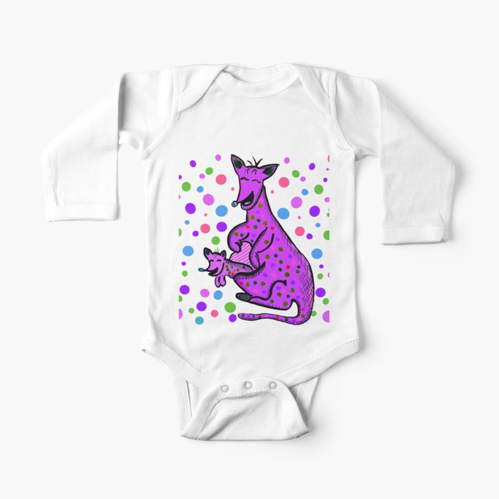 Kangaroo with Baby Laughing Purple Baby One-Piece