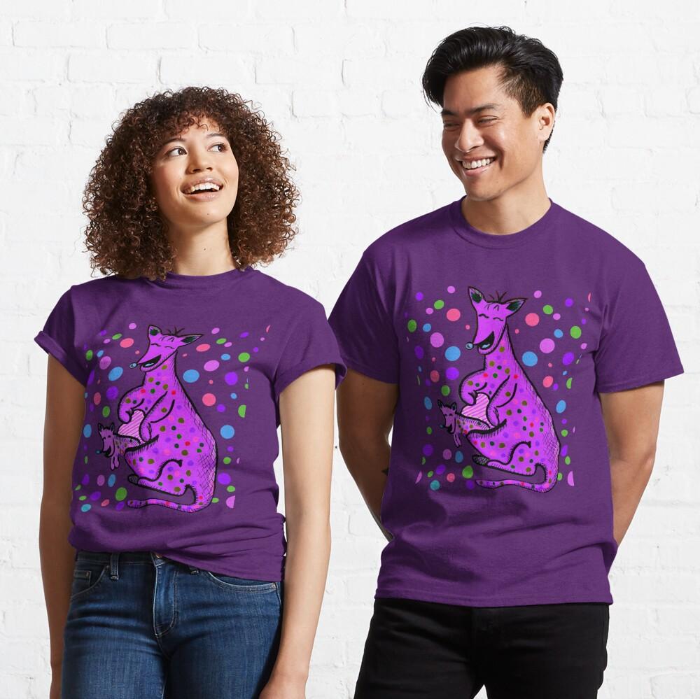 Kangaroo with Baby Laughing Purple Classic T-Shirt
