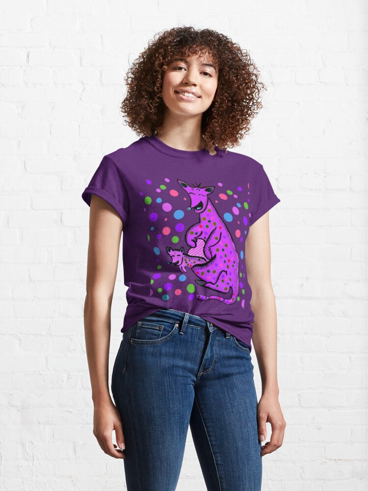Alternate view of Kangaroo with Baby Laughing Purple Classic T-Shirt