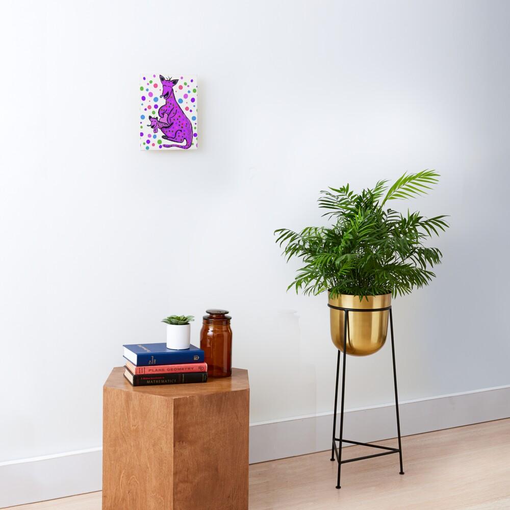 Kangaroo with Baby Laughing Purple Mounted Print