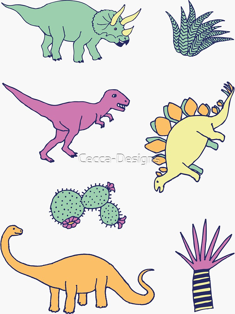 Dinosaur Desert - peach, mint and navy - fun pattern by Cecca Designs by Cecca-Designs
