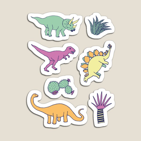 Dinosaur Desert - peach, mint and navy - fun pattern by Cecca Designs Magnet