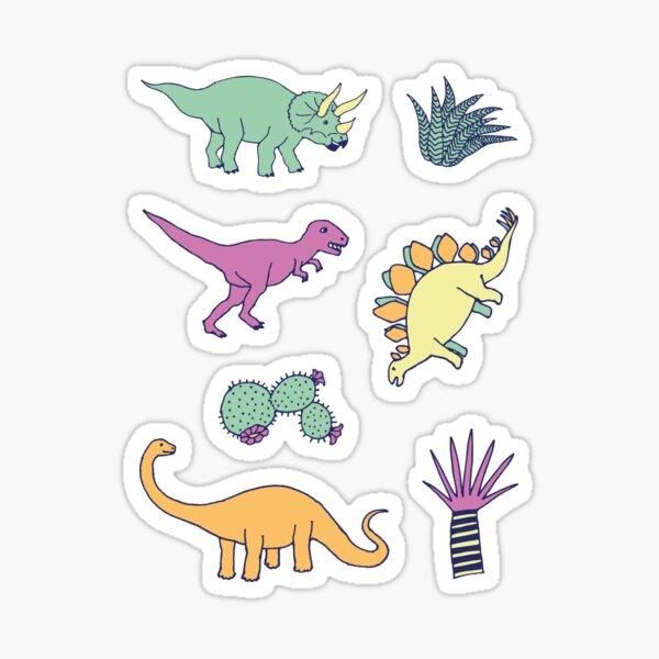 Dinosaur Desert - peach, mint and navy - fun pattern by Cecca Designs Sticker