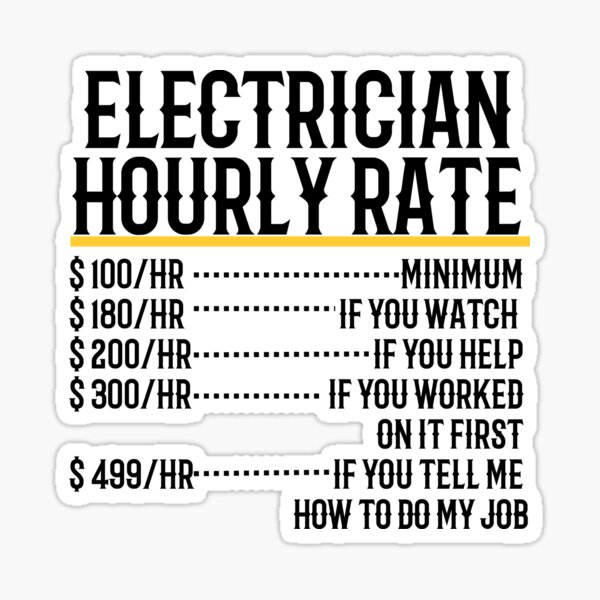 Electrician Hourly Rate Sticker