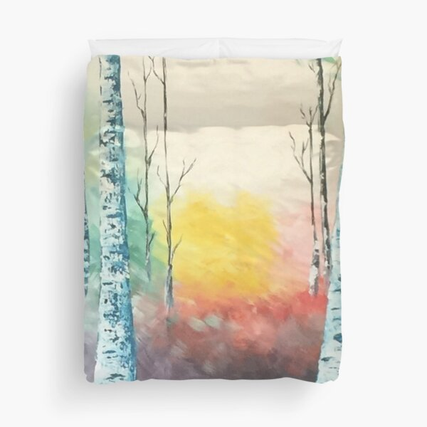 Turquoise Aspens   the beautiful abstract aspen forest welcomes you to wander! Duvet Cover