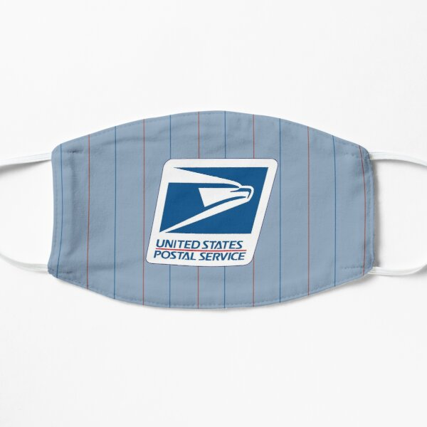 Vintage Broadcloth Clerk Pinstripes: Classic Letter Carrier Red and Navy Alternating Stripes on Postal Blue Mask
