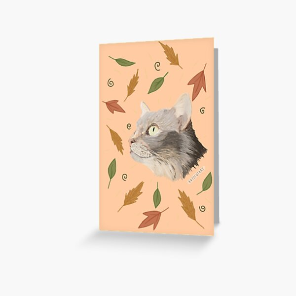 Fall Leaves Cat Greeting Card