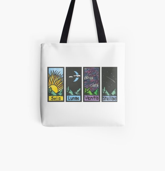 Quartet - Sun, Moon, Wind, and Stars All Over Print Tote Bag