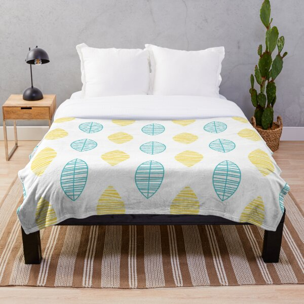 Teal and Yellow Abstract Leaves Throw Blanket