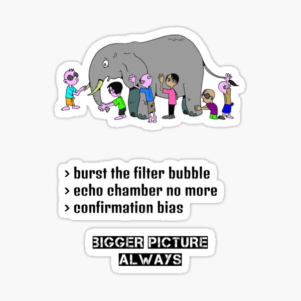 Always Look for the Bigger Picture Filter Bubble Echo Chamber Confirmation Bias Sticker